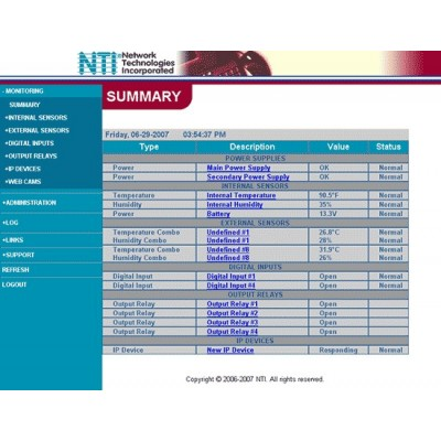 NTI Enhances Web User Interface for Server Environment Monitoring System