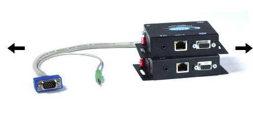 CAT5 VGA Video Audio Extender 300 feet extend remote monitor