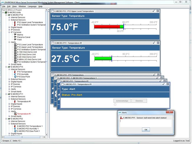 Management Software Low-Cost Environment Monitoring Systems Sensor Alert
