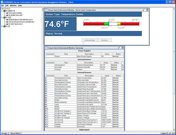 Enviromux Management Software Screen Shot