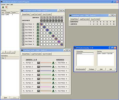 Screen Shot of the NTI Switch Control Program with GUI interface.
