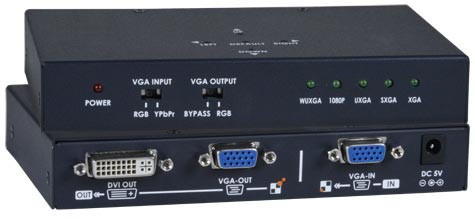 VGA-DVI analog to digital video signal converter