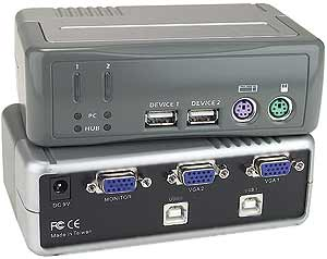 Low cost dual monitor, PS/2 KVM switch, 2 port