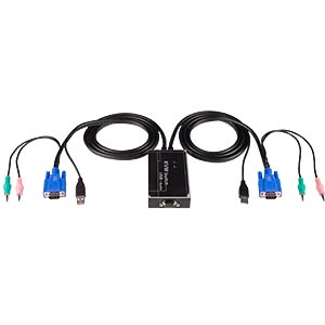 2-Port USB KVM Switch with built-in KVM cables: Mic Audio, Stereo Audio, VGA 15-pin HD, USB Type A