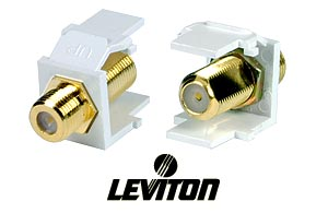 Leviton F-Type Keystone Snap In Insert Female to Female Gold Plated White