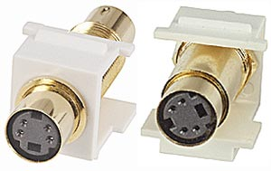 S-Video 4-Pin miniDin Keystone Snap In Insert Coupler Female to Female Gold Plated
